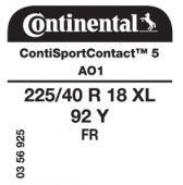 225/40 R18 92Y Continental ContiSportContact 5 XL FR AO1 (Audi A3 3rd Gen)