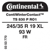 245/35 R19 93W Continental ContiWinterContact TS830 P XL FR RO1 (Audi)