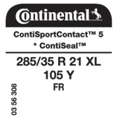 285/35 R21 105Y Continental ContiSportContact 5 XL FR ContiSeal * (Rolls Royce RP05 Ghost Coupe)