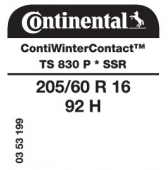 205/60 R16 92H Continental ContiWinterContact TS830 P SSR Runflat * (BMW)