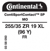 255/35 ZR19 (96Y) Continental ContiSportContact 5P XL FR MO (Mercedes E-Class AMG W212)