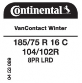 185/75 R16C 104/102R Continental VanContact Winter 8PR