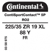 225/35 ZR19 88Y Continental ContiSportContact 5P XL FR RO2 (Audi RS3)