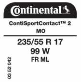 235/55 R17 99W Continental SportContact 2 FR ML MO (Mercedes S-Class W221)