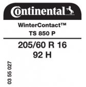 205/60 R16 92H Continental WinterContact TS850 P