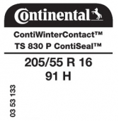 205/55 R16 91H Continental ContiWinterContact TS830 P ContiSeal