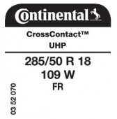 285/50 R18 109W Continental CrossContact UHP FR