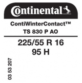 225/55 R16 95H Continental ContiWinterContact TS830 P AO (Audi)