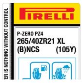 265/40 ZR21 (105Y) Pirelli P Zero PZ4 Luxury Saloon XL PNCS B (Bentley GT)