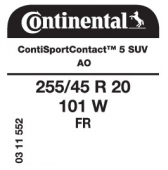 255/45 R20 101W Continental ContiSportContact 5 SUV FR AO (Audi Q5)