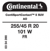 255/45 R20 101W Continental ContiSportContact 5 SUV FR AO (Audi Q5 2nd Gen)