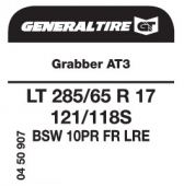 LT 285/65 R17 121/118S General Tire Grabber AT3 LRE FR 10PR