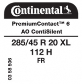285/45 R20 112H Continental PremiumContact 6 XL FR ContiSilent AO (Audi SQ6)