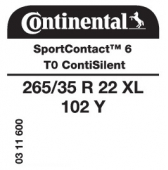 265/35 R22 102Y Continental SportContact 6 XL ContiSilent T0 (Tesla)