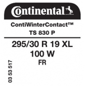 295/30 R19 100W Continental ContiWinterContact TS830 P XL FR