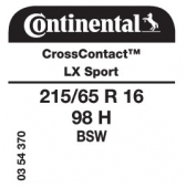 215/65 R16 98H Continental CrossContact LX Sport