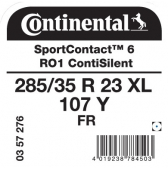 285/35 R23 107Y Continental SportContact 6 XL FR ContiSilent RO1 (Audi Q8)