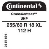 255/60 R18 112H Continental CrossContact UHP XL (VW Robust Pick Up VN817)