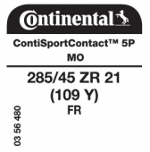 285/45 ZR21 (109Y) Continental ContiSportContact 5P FR MO (Mercedes M-Class Coupe AMG C292)