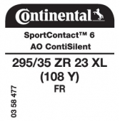 295/35 ZR23 (108Y) Continental SportContact 6 XL FR ContiSilent AO (Audi RSQ8)