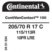 205/70 R17C 115/113R Continental ContiVanContact 100 10PR (VW Crafter)
