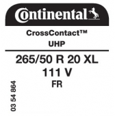 265/50 R20 111V Continental CrossContact UHP XL FR