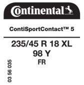 235/45 R18 98Y Continental ContiSportContact 5 XL FR (Ford Mondeo)