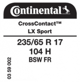 235/65 R17 104H Continental CrossContact LX Sport FR