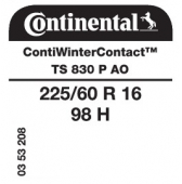 225/60 R16 98H Continental ContiWinterContact TS830 P AO (Audi)