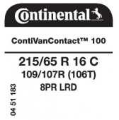 215/65 R16C 109/107R (106T) Continental ContiVanContact 100 8PR (Iveco Daily)
