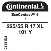 225/55 R17 101Y Continental EcoContact 6 XL * (BMW 5-Series G30)