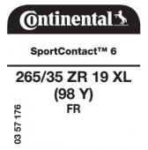 265/35 ZR19 (98Y) Continental SportContact 6 XL FR