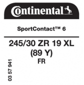 245/30 ZR19 (89Y) Continental SportContact 6 XL FR