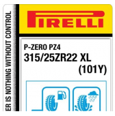315/25 ZR22 (101Y) Pirelli P-Zero PZ4 Sports Car XL