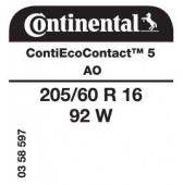 205/60 R16 92W Continental ContiEcoContact 5 AO (Audi A4)