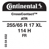 255/65 R17 114H Continental CrossContact ATR XL FR
