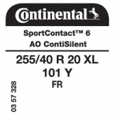 255/40 R20 101Y Continental SportContact 6 XL FR ContiSilent AO (Audi A6 C8/A7)