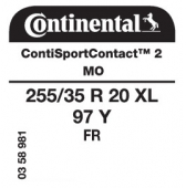 255/35 R20 97Y Continental SportContact 2 XL FR MO (Mercedes S-Class W221)