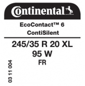 245/35 R20 95W Continental EcoContact 6 XL FR ContiSilent (Opel Insignia)