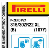 315/30 ZR22 (107Y) Pirelli P Zero PZ4 Luxury Saloon XL B (Bentley GT)