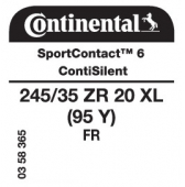 245/35 ZR20 (95Y) Continental SportContact 6 XL FR ContiSilent (Opel Insignia)