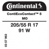 205/55 R17 91W Continental ContiEcoContact 5 MO (Mercedes B-Class W247)