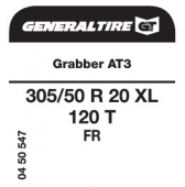 305/50 R20 120T General Tire Grabber AT3 XL FR