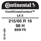 215/65 R16 98H Continental ContiCrossContact LX 2 FR