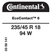 235/45 R18 94W Continental EcoContact 6 (VW Passat)