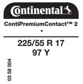 225/55 R17 97Y Continental ContiPremiumContact 2 * (BMW F10, 5 Series)