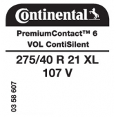 275/40 R21 107V Continental PremiumContact 6 XL ContiSilent VOL (Volvo XC90)