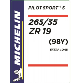265/35 ZR19 (98Y) Michelin Pilot Sport 4 S XL