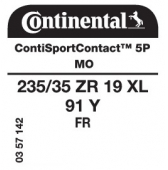 235/35 ZR19 91Y Continental ContiSportContact 5P XL FR MO (Mercedes A-Class AMG W176)