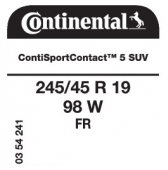 245/45 R19 98W Continental ContiSportContact 5 SUV FR (Opel Insignia 4x4)